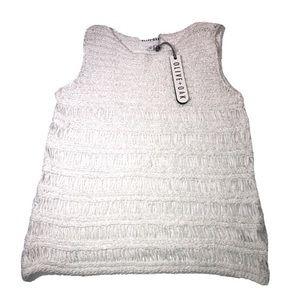 NWT Olive + Oak fringe striped white blouse Small